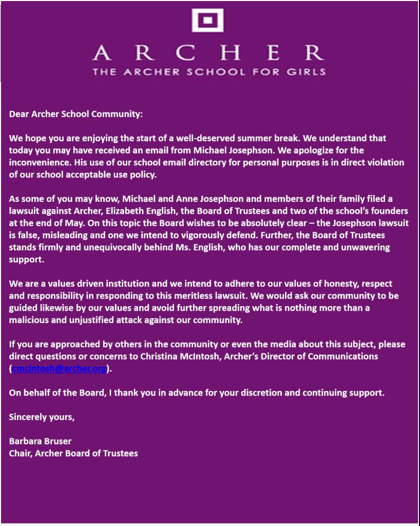 Archer- Bruser letter